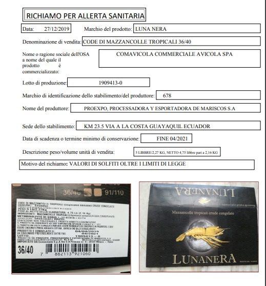 Ritirato prodotto consumato durante le feste: l'avviso sul sito del Ministero