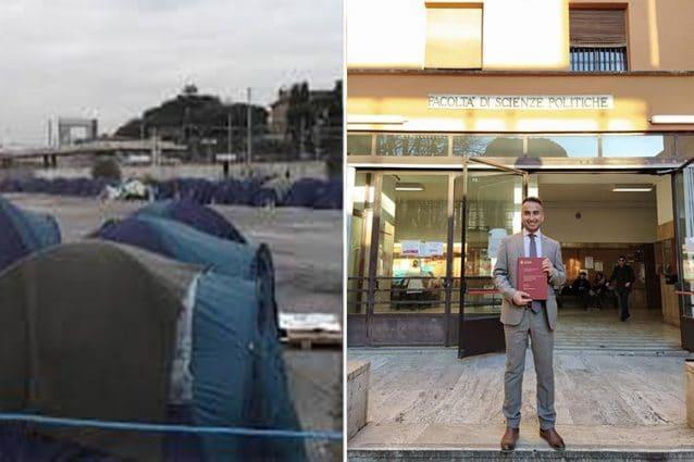 A sinistra le tende che hanno ospitato Syed e gli altri profughi afghani a Roma. A destra, Syed dopo il conseguimento della laurea in Scienze politiche alla Sapienza (Hasnain Syed)