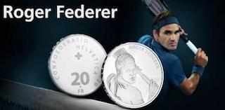 Roger Federer su una moneta da 20 franchi, è il primo omaggio a uno svizzero vivente