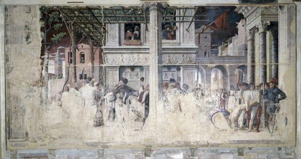 Affresco della Cappella Ovetari nella Chiesa degli Eremitani a Padova, realizzato da Andrea Mantegna fra 1448 e il 1457.