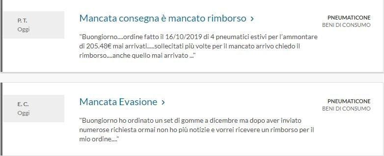 Anche sul sito Altroconsumo.it sono apparse molte lamentele dei clienti di PneumaticOne