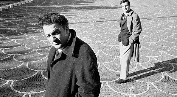 Federico Fellini insieme a Marcello Mastroianni.