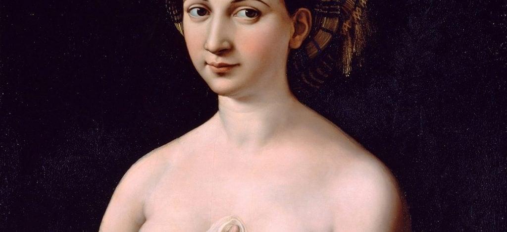 """Particolare del dipinto """"La Fornarina"""" (1519), conservato presso la Galleria Nazionale d'Arte Antica di Roma."""