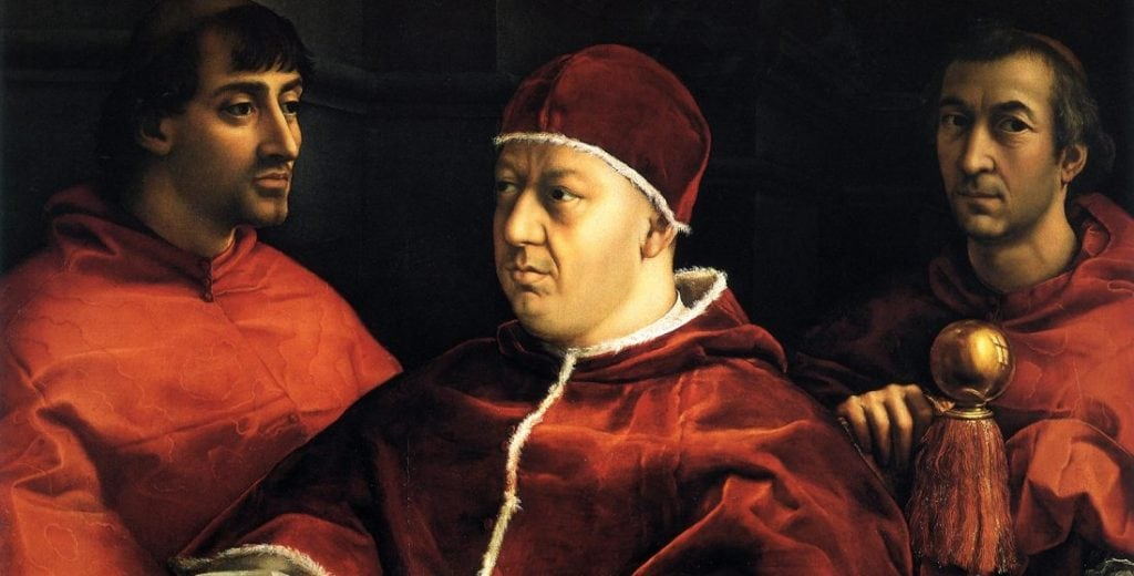 """Raffaello, """"Leone X tra i cardinali Giulio de' Medici e Luigi de' Rossi"""" (1518), Galleria degli Uffizi, Firenze."""