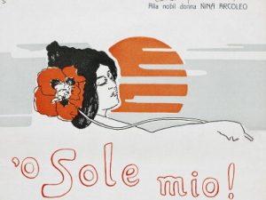 La copertina dell'edizione inglese di 'O Sole mio, Biblioteca Nazionale 'Vittorio Emanuele II', Napoli.