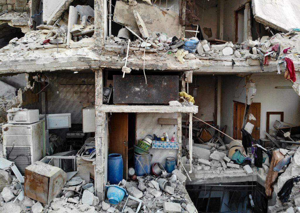 Quel che resta di un palazzo nella città di Maarat al–Numan (Gettyimages)