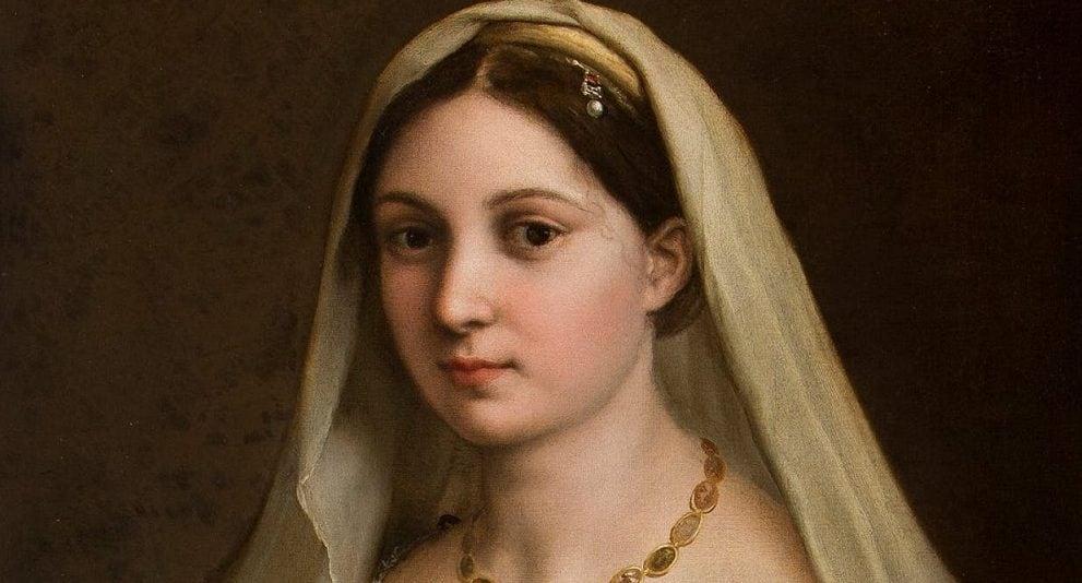 """Raffaello, """"La Velata"""" (1516), Galleria Palatina, Firenze. Alcuni studiosi hanno riconosciuto in lei la stessa modella de """"La Fornarina""""."""