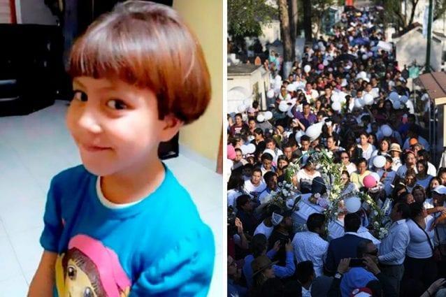 Fatima, la bimba di 7 anni rapita e uccisa in Messico. A destra i funerali della piccola