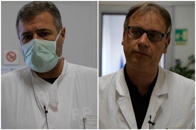 Raffaele Bruno, direttore dell'Unità operativa complessa Malattie infettive, e Francesco Moioli, responsabile terapia intensiva del Policlinico San Matteo di Pavia.