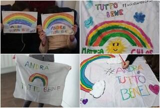 """Gli arcobaleni colorati dei bambini contro la paura del Coronavirus: """"Andrà tutto bene"""""""