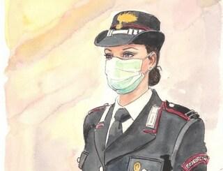 La carabiniera con la mascherina, omaggio di Milo Manara all'Arma nei giorni del coronavirus