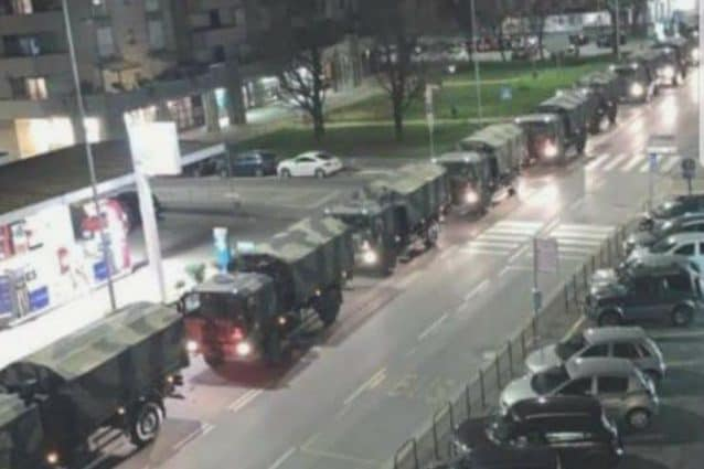 I militari in arrivo a Bergamo