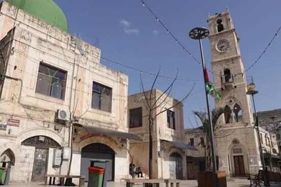 Una delle piazze di Nablus deserte dopo i primi casi di coronavirus