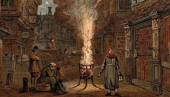 """Artista anonimo, """"La piaga di Londra"""" (1665), collezione privata."""