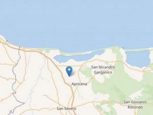 L'epicentro del terremoto registrato a Foggia