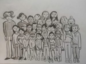 Francesco, 9 anni, disegna a mano la foto di classe di fine anno