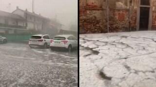Maltempo in Piemonte, bomba d'acqua e maxi grandinata a Novara: danni e allagamenti