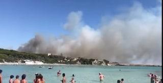 Taranto, incendio sulla litoranea tra Lido Silvana e Lido Checca: famiglie evacuate
