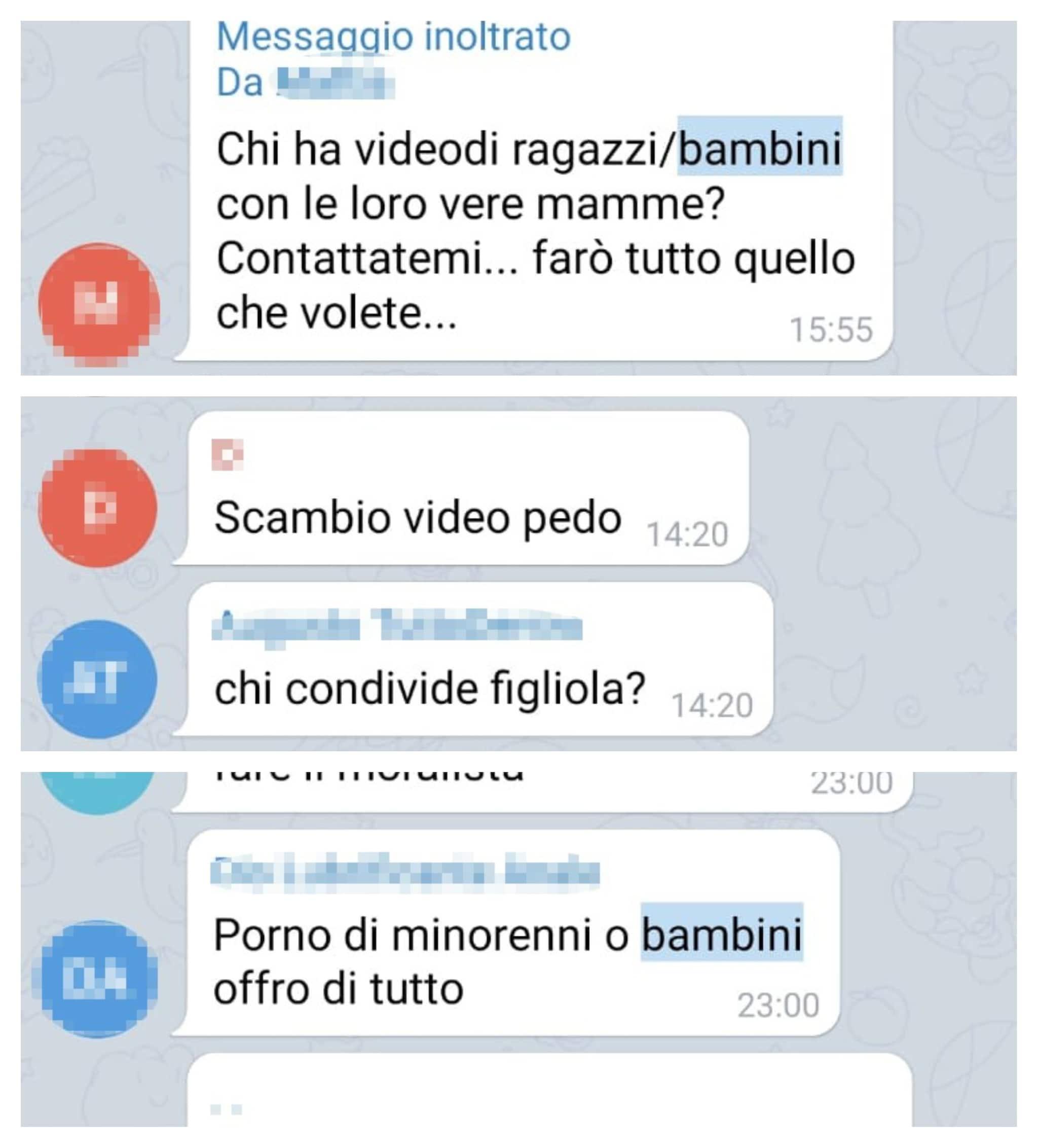 Screenshot dal gruppo Telegram in cui si è infiltrata l'inchiesta di Fanpage.it.