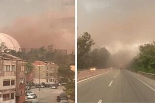 Vento forte a Taranto, le polveri tossiche dell'ex Ilva si sollevano: l'inquietante nube rossa