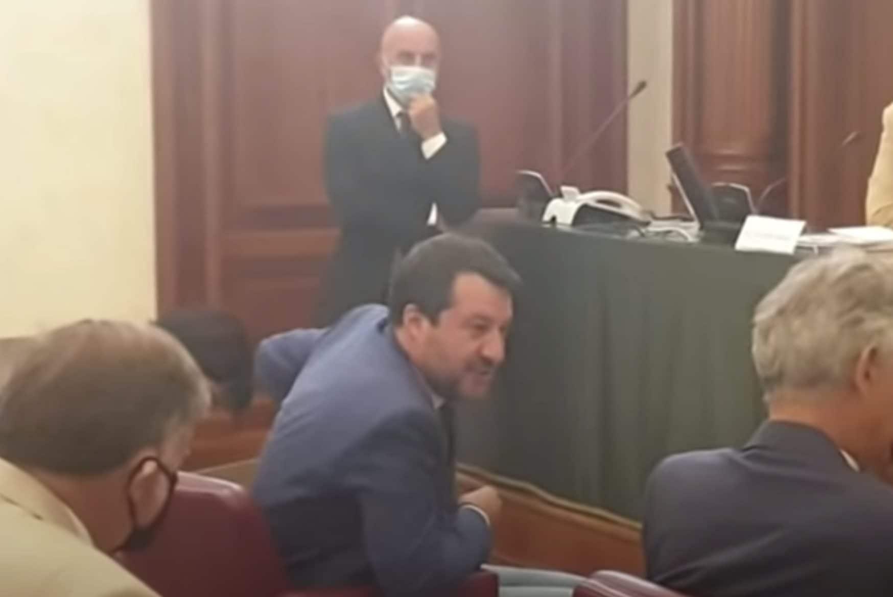 Salvini in Senato al convegno sul Covid–19 lo scorso 27 luglio.