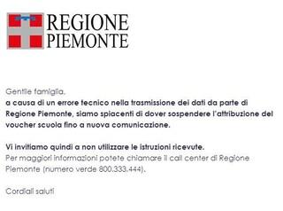 """Gaffe """"inaccettabile"""" della Regione Piemonte: invia 45mila voucher scuola, ma non ci sono i soldi"""