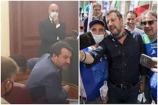 """Salvini, ennesima bugia sulla mascherina: """"La metto sempre al chiuso, all'aperto rispetto distanze"""""""