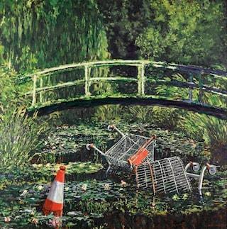 Il dipinto di Banksy che rivisita le ninfee di Monet all'asta da Sotheby's