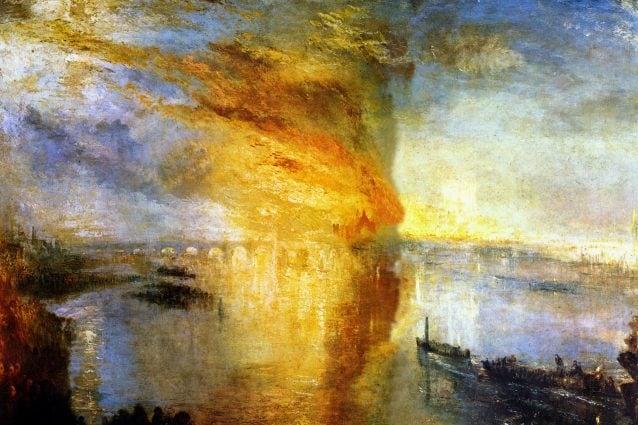 L'incendio del Parlamento di Londra nel dipinto di William Turner