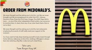 "Burger King: ""Ordinate da McDonald's!"". L'appello (a sorpresa) per salvare il settore del fast food"