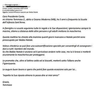 """Conte replica a Tommaso: """"Babbo Natale ha autocertificazione internazionale, può viaggiare ovunque"""""""