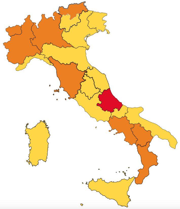 Cartina Italia Divisa Per Regioni.Quali Regioni Cambieranno Colore Oggi Con Il Nuovo Monitoraggio Dell Iss