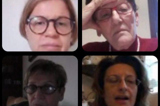 """alcune delle donne del gruppo """"Unite dall'amore"""" insieme in videochiamata"""