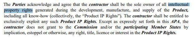 Uno stralcio del contratto stipulato dalla Commissione Europea con CureVac