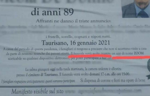 Lecce, niente assembramenti per salutare il defunto: funerale online organizzato su Zoom