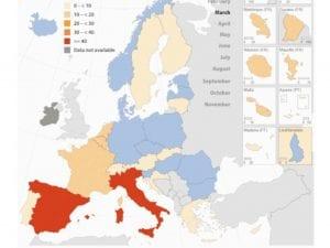 Nel 2020 in Ue 400mila decessi in più a causa del Covid: mortalità in eccesso del 10%