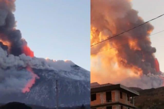 Spettacolare eruzione sull'Etna: alta colonna di fumo, stop ai voli