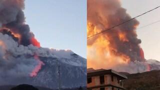 Spettacolare eruzione dell'Etna: esplosioni, colate di lava e pioggia di cenere e lapilli