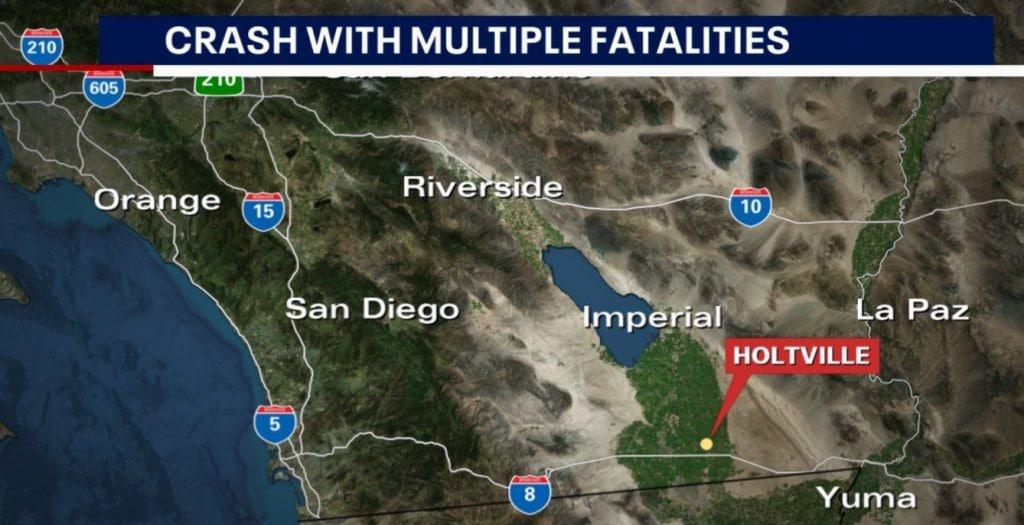 Il luogo dell'incidente in California, Usa
