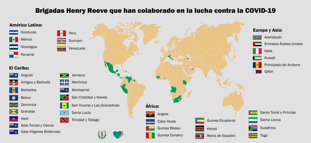 I paesi in cui sono intervenute le brigate mediche cubane Henry Reeve
