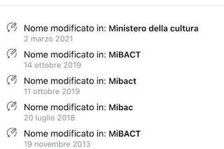 Da MiBACT a MiC: dal 2013 il social del Ministero della Cultura ha cambiato nome ben 5 volte