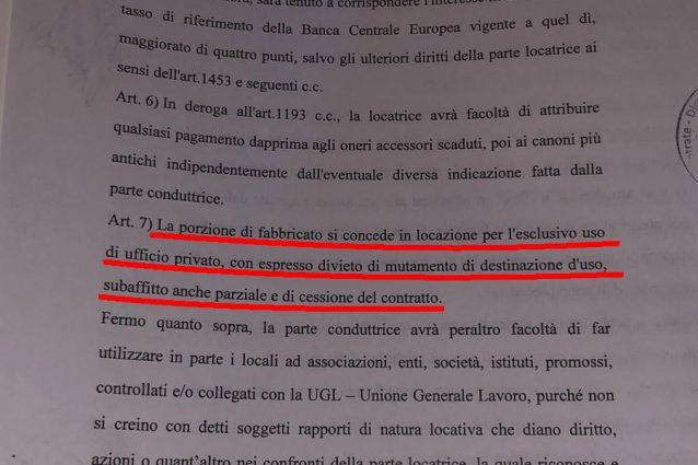Il contratto di affitto siglato dall'Ugl per il primo piano di via delle Botteghe Oscure, dove dal 2018 ha avuto sede la Bestia di Salvini
