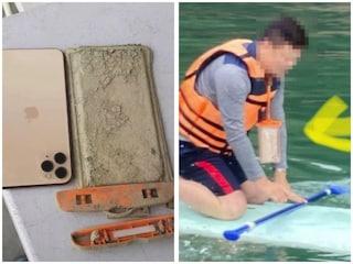 Cellulare cade in acqua, un anno dopo la siccità prosciuga il lago e lui lo ritrova