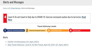 """Gli Usa sconsigliano viaggi in Italia: """"Rischio Covid a livello massimo"""""""