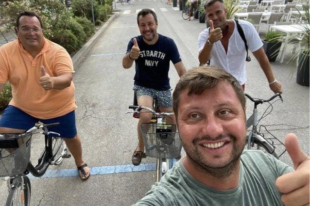 Salvini, Durigon e Attilio Lombardi a Milano Marittima, estate 2020