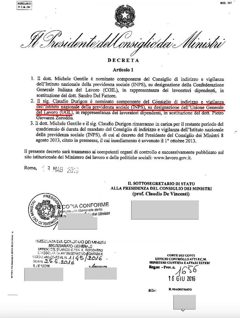 L'atto nomina di Durigon nel Civ dell'Inps del 2016