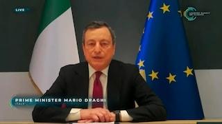 """Draghi: """"Combattiamo la pandemia di Covid, ma non dobbiamo perdere di vista cambiamento climatico"""""""