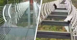 Terrore in Cina: ponte di vetro va in mille pezzi, turista rischia volo da 100 metri d'altezza