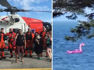 Festa di compleanno su fenicottero gonfiabile ma finiscono al largo: salvati da un elicottero