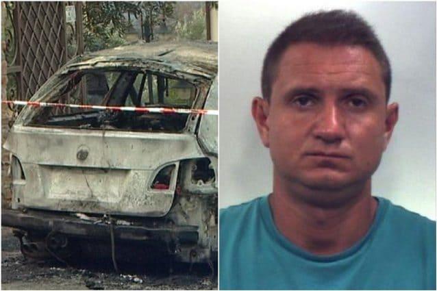 L'auto di Domenico Maria Gigliotti e il killer Marco Gallo